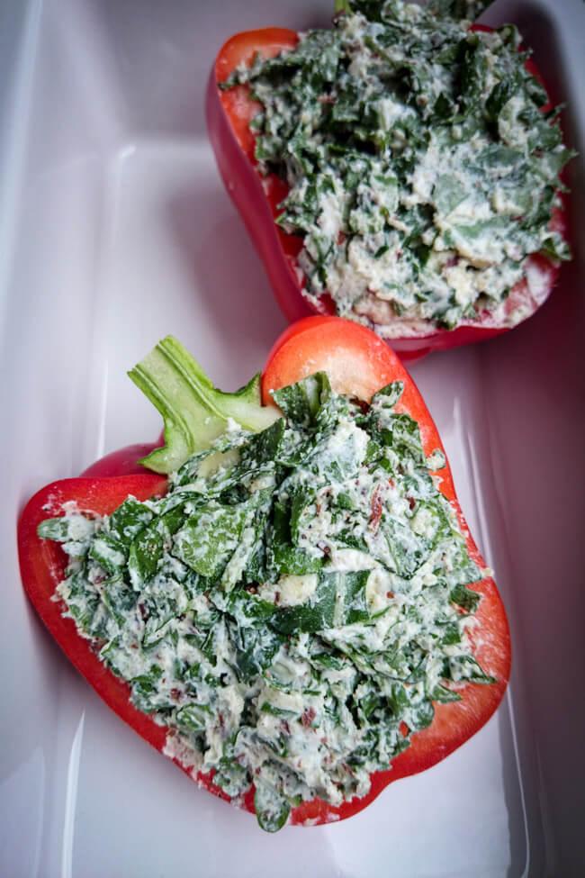 paprika mit ziegenkäse gefüllt rucola vegetarisch veggie
