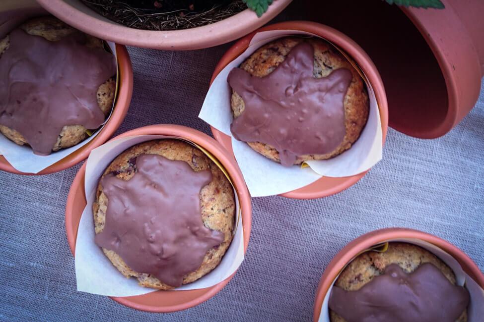 bananen schokoladen muffins cupcakes