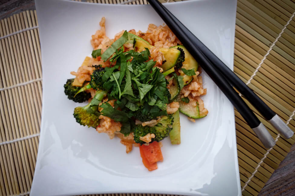 asiatische reis pfanne gemüse vegetarisch vegan veggie