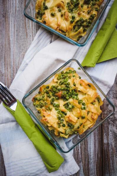 nudelauflauf bergkäse erbsen vollwertig GU auflauf safran knoblauch pasta