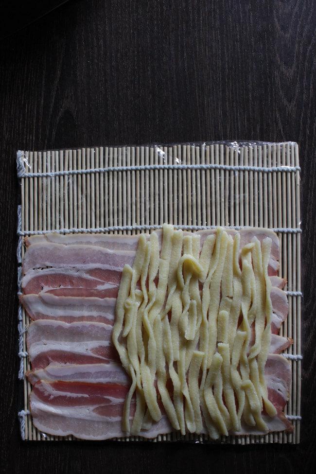käsespätzle sushi bacon spätzlerolle