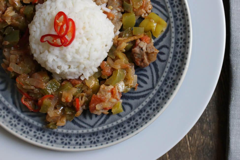 rinder filet piccante mit reis peperoni paprika chili