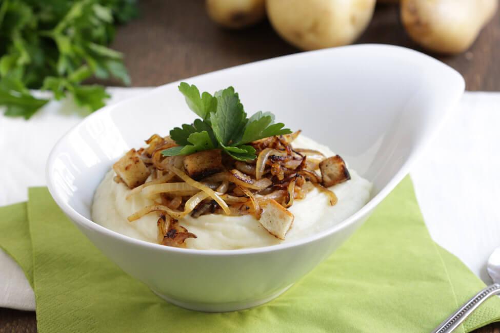 kartoffelbrei mit röstzwiebeln und croutons selbst kochenkartoffelstampf