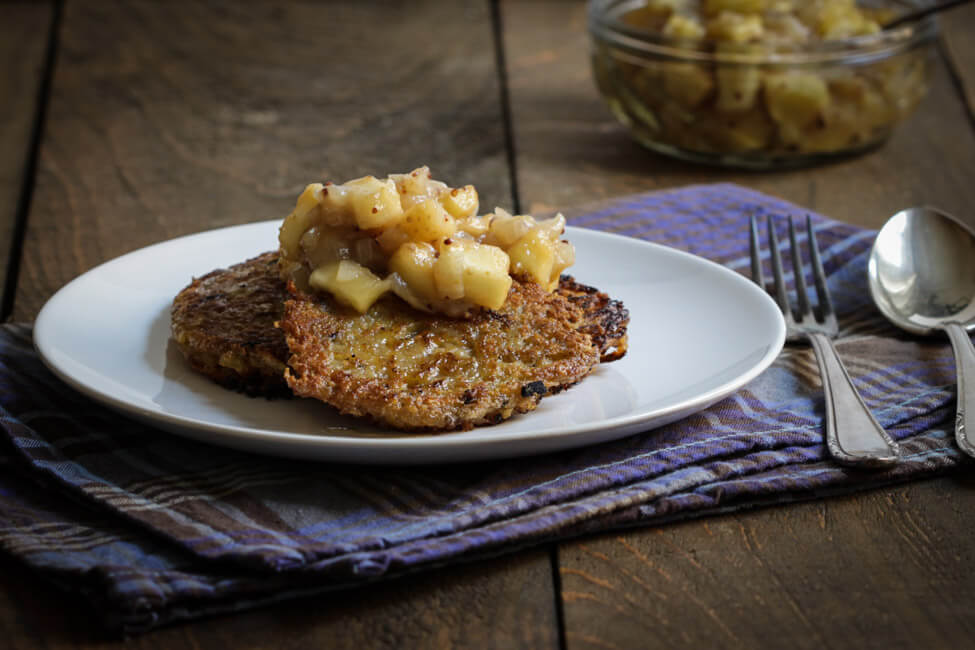 baggers mit apfelchutney kartoffelpuffer