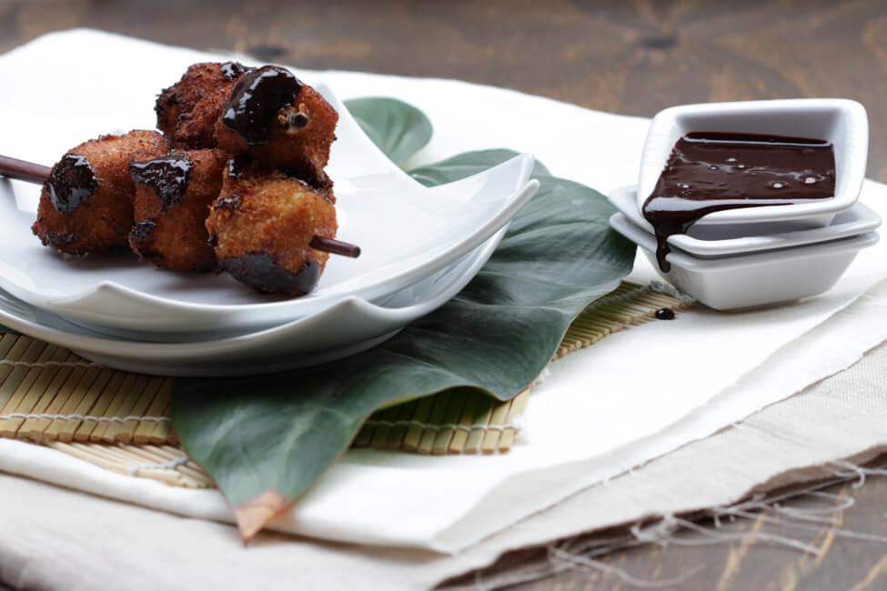 gebackene banane schoko chili sauce dessert asiatisch