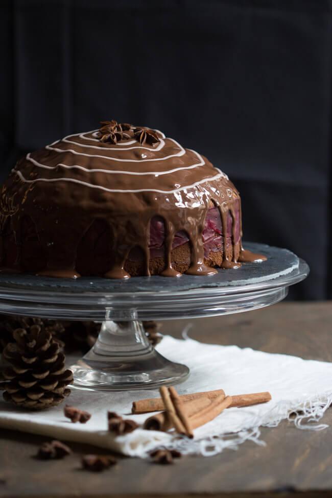 lebkuchen kirsch torte glühwein kirschen schokoladenglasur