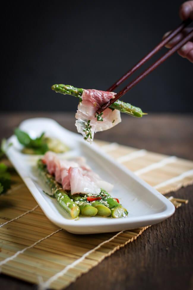 cobia sashimi asia spargelsalat sesam chili grüner spargel