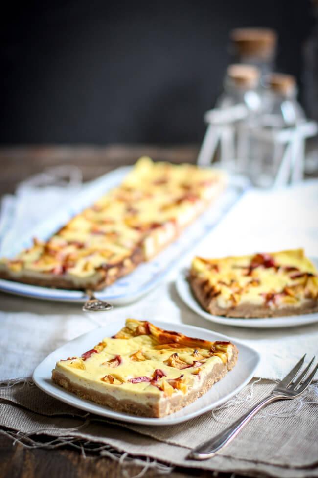 nektarinen cheesecake käsekuchen blechkuchen pfirsich