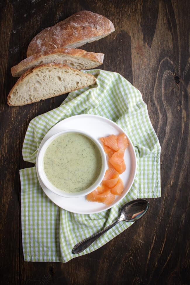 zucchini creme suppe kresse camembert brie räucherlachs süppchen