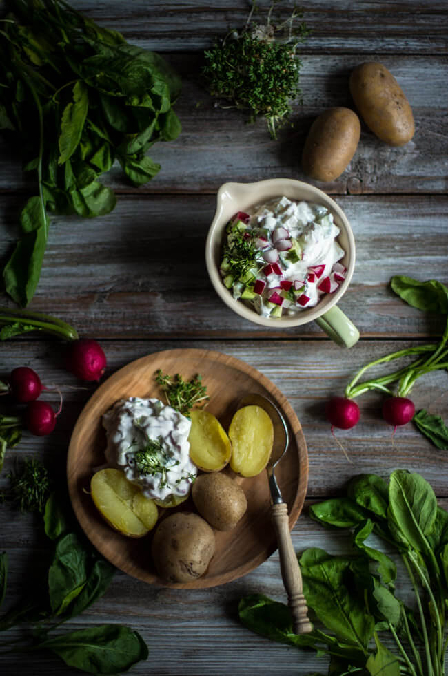 kartoffeln pellkartoffeln mit radieschenquark gurken kresse vegetarisch veggie einfach schnell
