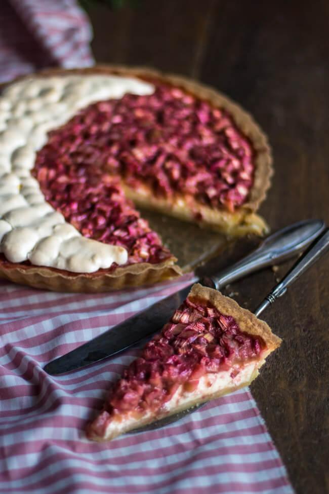 rhabarber kuchen cheesecake tarte käsekuchen mit baiser