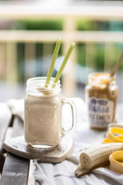 bananen peanutbutter shake smoothie