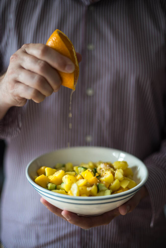 kartoffeln mango salat mit orange sesam asia vegan