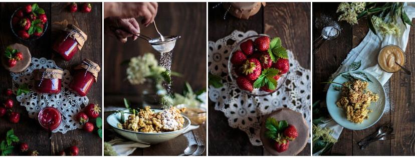 Erdbeermarmelade mit Agar Agar und gebackene Hollerküchlein - frittierte Holunderblüten - vier Bilder aus meinem Portfolio für Foodfotografie/Foodstyling. Fotografie: Tina Kollmann, Nürnberg, LECKER&Co