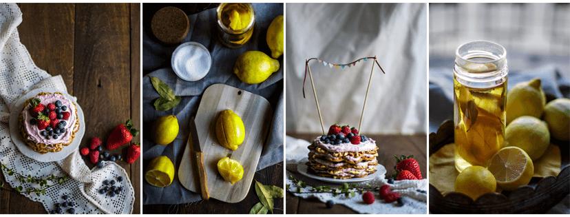 Wafffeltorte mit roten Beeren und Marokkanische Salzzitronen - vier Bilder aus meinem Portfolio für Foodfotografie/Foodstyling. Fotografie: Tina Kollmann, Nürnberg, LECKER&Co
