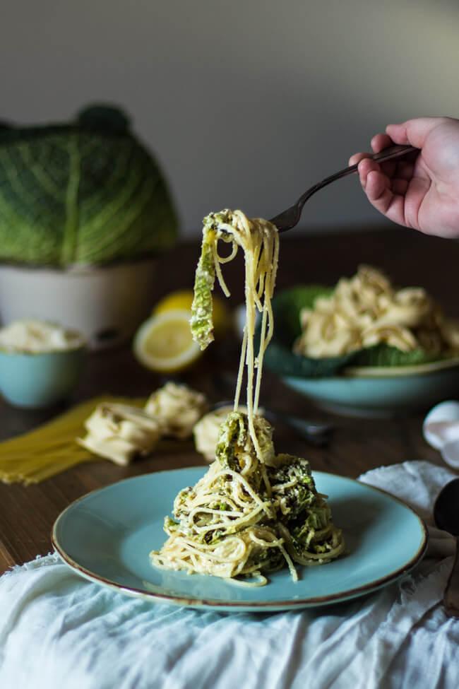 wirsing carbonara vegetarisch pasta nudeln