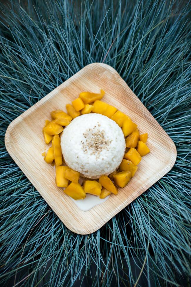 Mango mit Sticky Rice auf Schale aus Bananenblatt und Hintergrund aus Gras