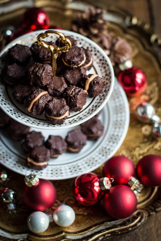 Nougat Tuffs Weihnachtsplätzchen Nougatplätzchen Schokoplätzchen Nougatfüllung einfach doppeldecker gefüllt
