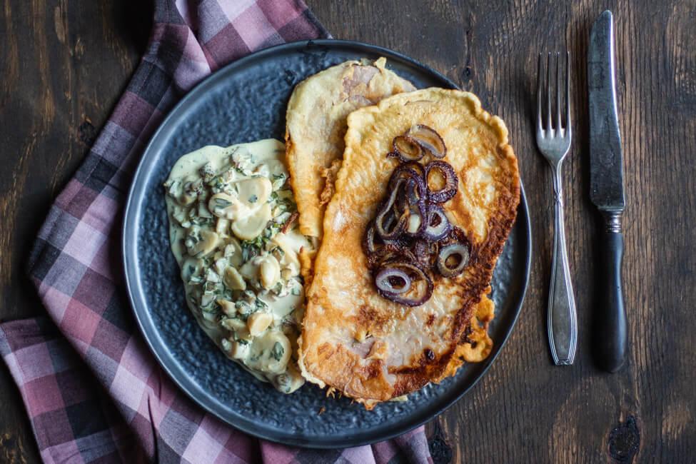 Kochschinkenpfannkuchen mit Kartoffelsalat Christian Lohse Kitchen Impossible mit Mayo Mayonnaise Kochschinken Pfannkuchen Sternekoch Rezept