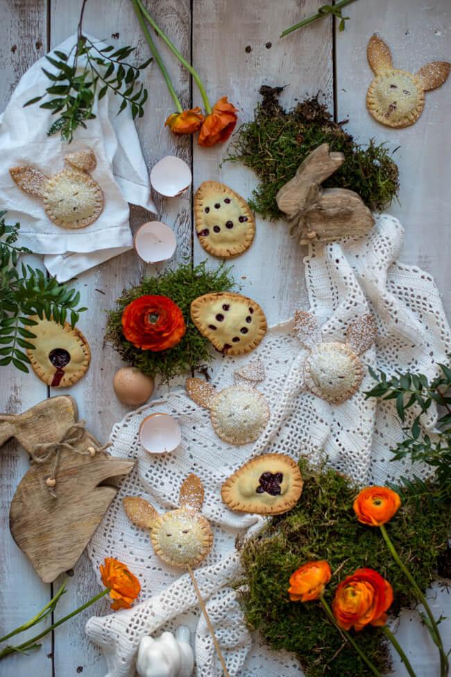 mini hand pies kirschtaschen pflaumentaschen ostern osterhase mürbeteig odenwald gebäck