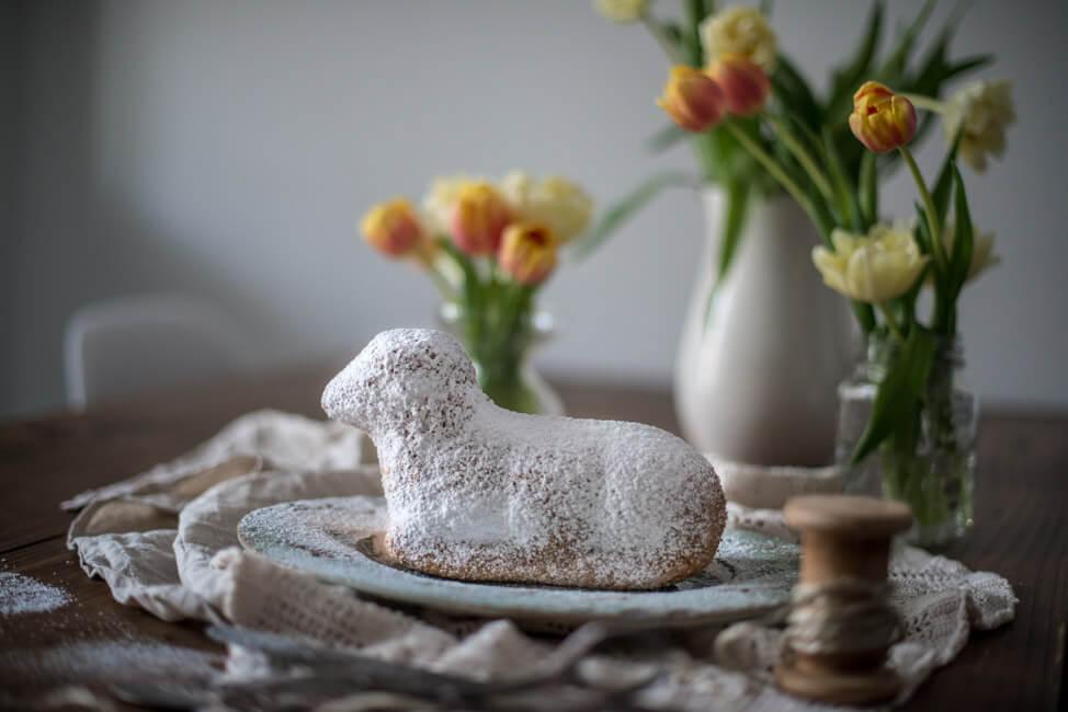 Ostern Feiertag Osterlamm Traditionelles Rezept Kuchen Zitrone Vanille