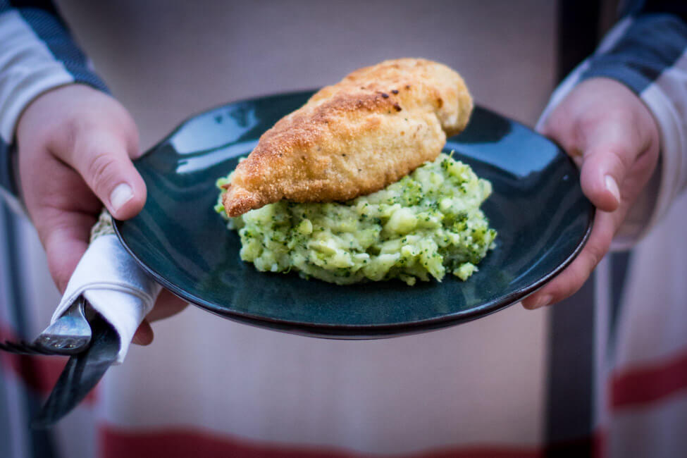 Hähnchen Kiew mit Brokkoli Kartoffelstampf nach Jamie Oliver