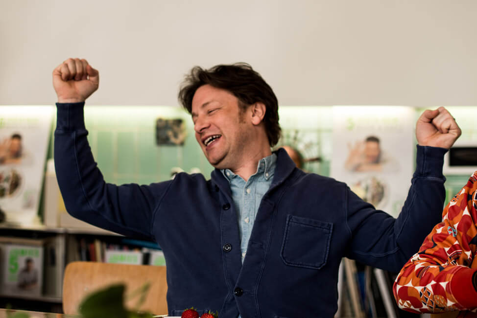 Jamie Oliver jubelt