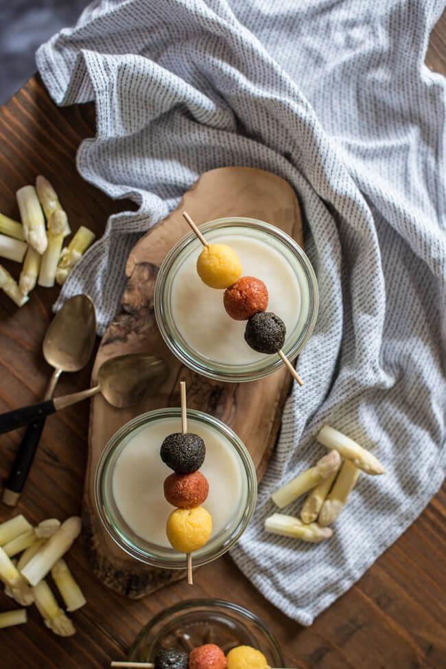 spargelcreme suppe spargel süppchen cremesuppe polenta spieß wm fußball