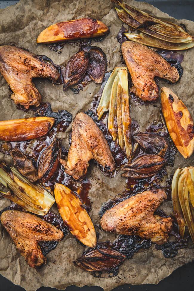 One Pan Hähnchen Süßkartoffel wedges Blechgericht einfach