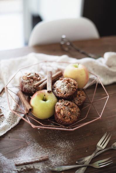 apfel nuss muffins ohne zucker gesund honig zimt backen kleine kuchen einfach