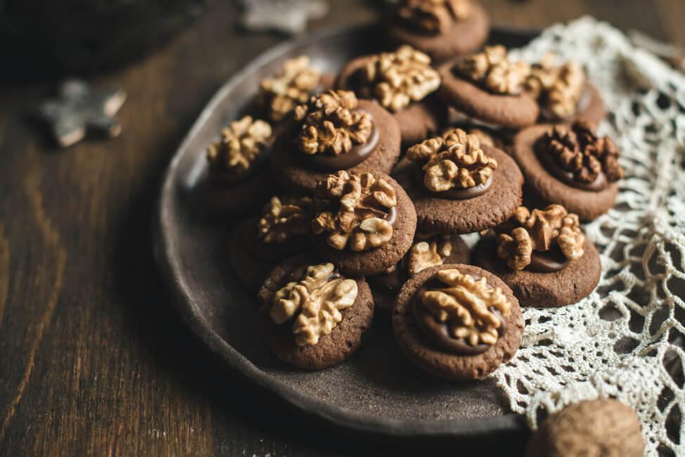 weihanchtsplätzchen rezept nougat walnuss plätzchen nussplätzchen schokoplätzchen kekse