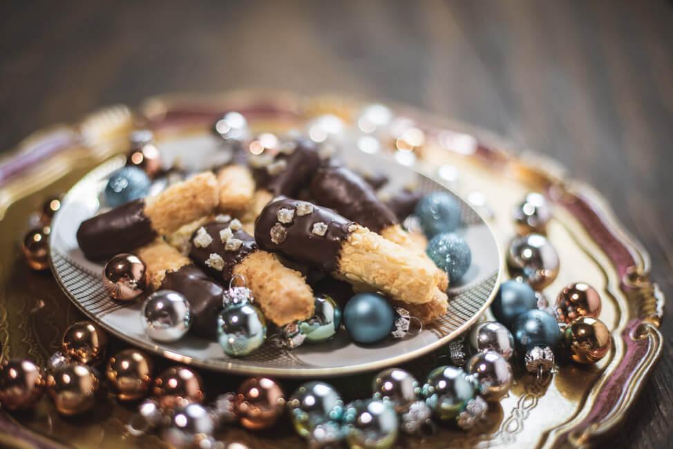 Kokos Ingwer Stangen mit Schokolade weihnachtsplätzchen
