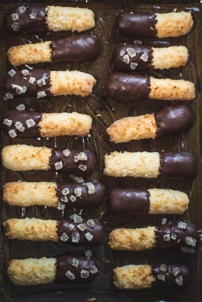 Kokos Ingwer Stangen mit Schokolade