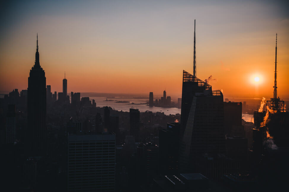 New York City NYC Manhattan Top of the Rock sunset skyline