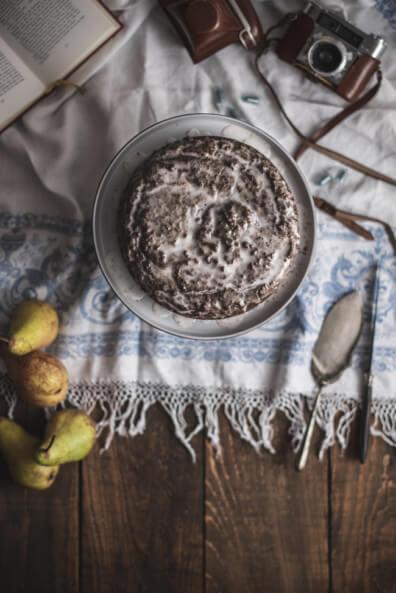 topshot saftiger birnen mohnkuchen backen glutenfrei schmand