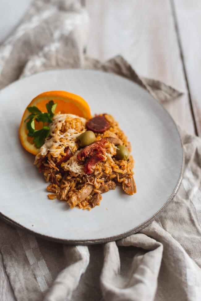 Arroz de Pato Entenreis Portugal Kitchen Impossible Tim Mälzer Tanja Grandits Chorizo Serrano Oliven Reisgericht Ente Orange Auflauf Reisauflauf glutenfrei
