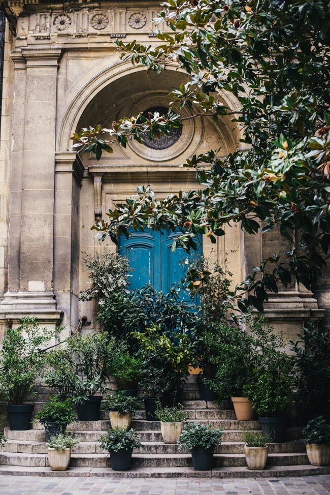 paris straße blaue tür romantisch pflanzen