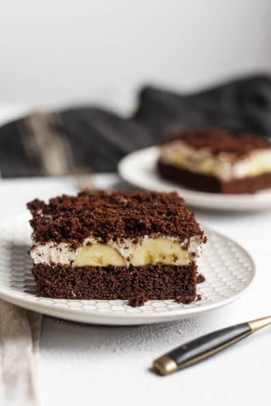 Maulwurf Kuchen Maulwurfkuchen vom Blech Blechkuchen Banane Schokoladenkuchen Straciatella Creme Sahne Quark einfach Blechkuchen Sommer Kühlschrank
