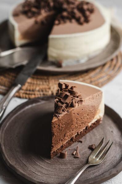 Chocolate Ombre Cheesecake Schokoladen Ombre Käsekuchen Tag des Käsekuchens backen no bake