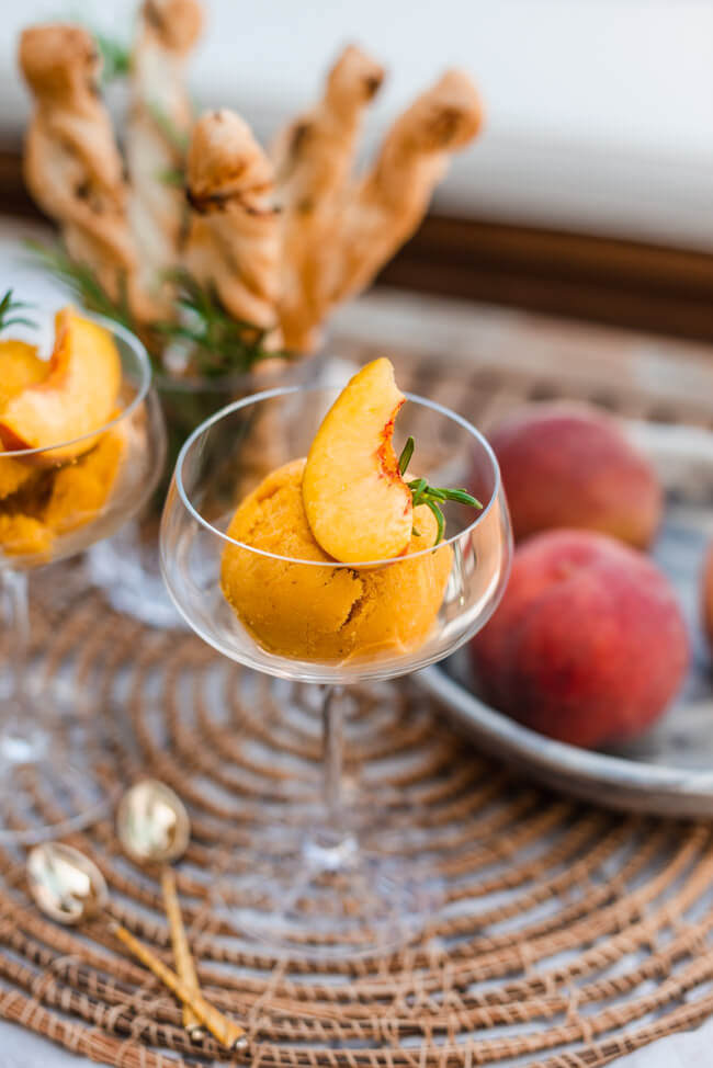 Pfirsich Sorbet vegan Fruchteis Sommer Eis