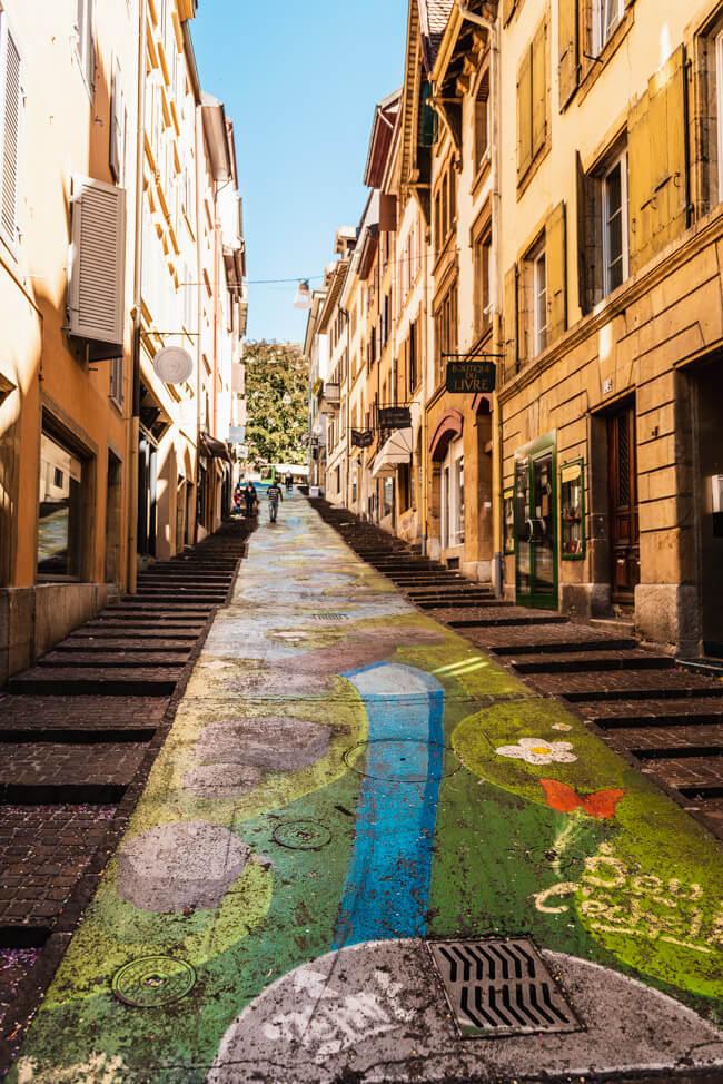 Neuchâtel Neuenburg Straßenkunst