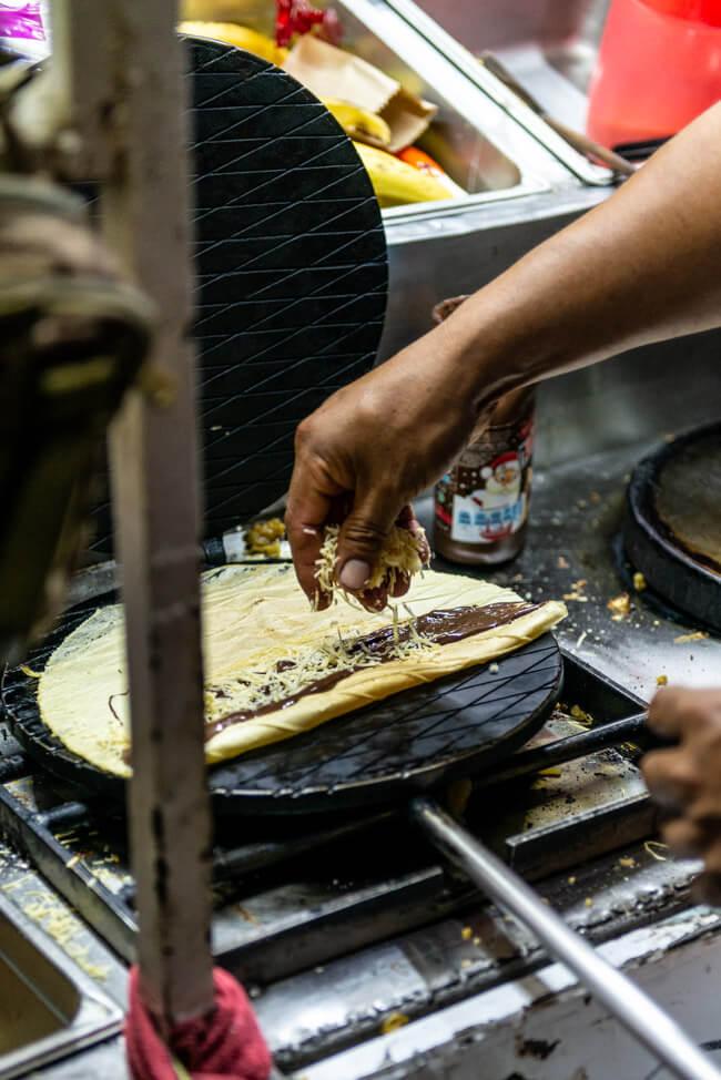 Isla Holbox Mexiko Karibik Centro Marquesitas mit Nutella und Käse