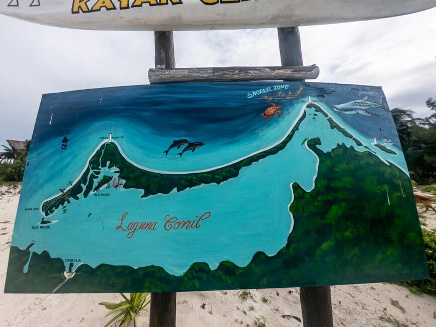 Isla Holbox Mexiko türkisblaues Meer Karibik Cabo Catoche Bootstour Ausflug Karte Laguna Conil
