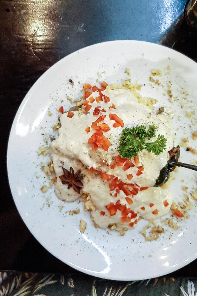 Mexiko Isla Mujeres Restaurant Xantolo Chiles en nogada