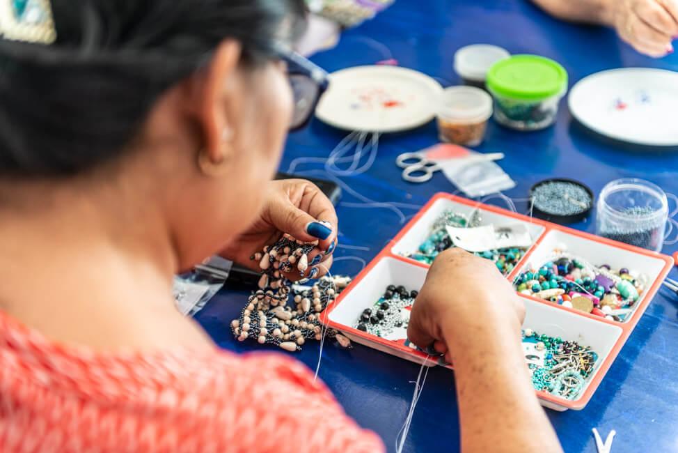 Mexiko Isla Mujeres Karibik Insel Womens Beading Cooperative Perlenschmuck Kooperative