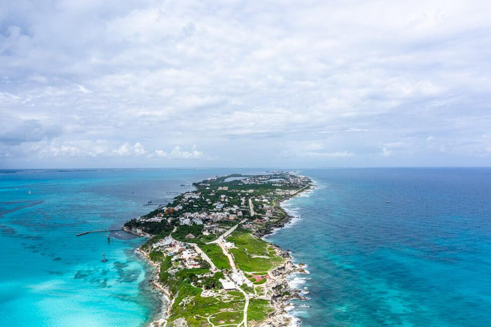 Mexiko Isla Mujeres Karibik Insel Punta Sur Meer türkisblau von oben Drohnenaufnahme Drohne Landschaftsfotografie Küste