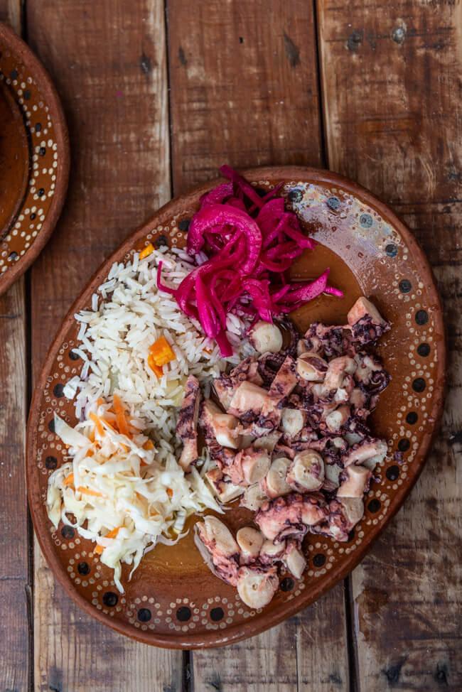 Mexiko Isla Mujeres Karibik Insel Restaurant La Lomita Comida Mexicana Mexican Food authentische Küche Octopus in Butter