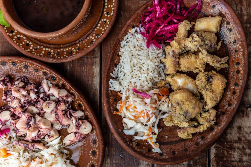 Mexiko Isla Mujeres Karibik Insel Restaurant La Lomita Comida Mexicana Mexican Food authentische Küche frittierter Octopus