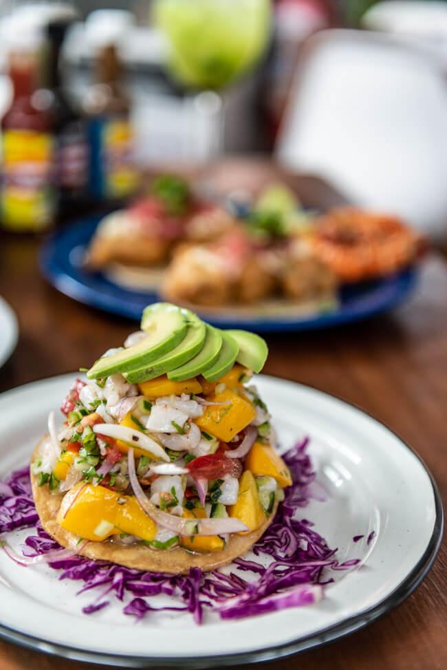 Isla Mujeres Restaurant Fish&Gin Fischrestaurant Tostados mit Ceviche Mango