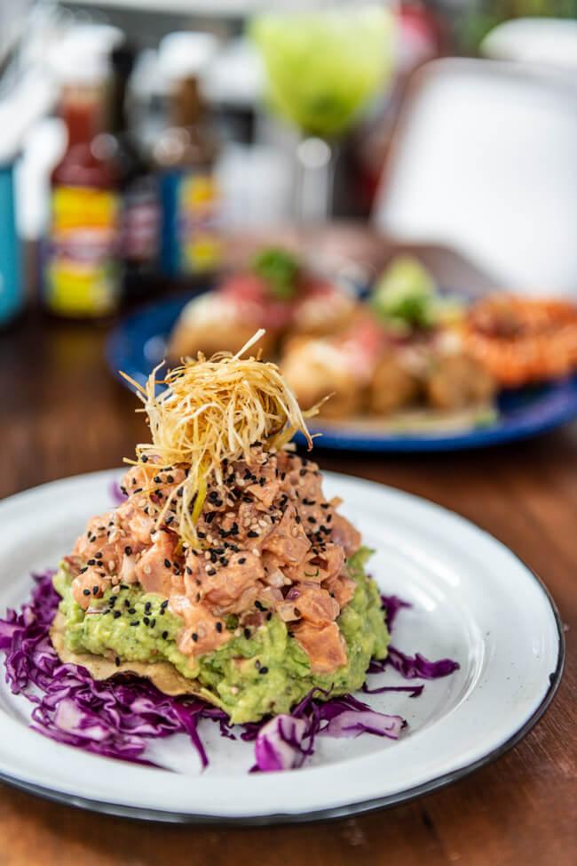 Isla Mujeres Restaurant Fish&Gin Fischrestaurant Tostados mit scharf mariniertem Thunfisch GUacamole